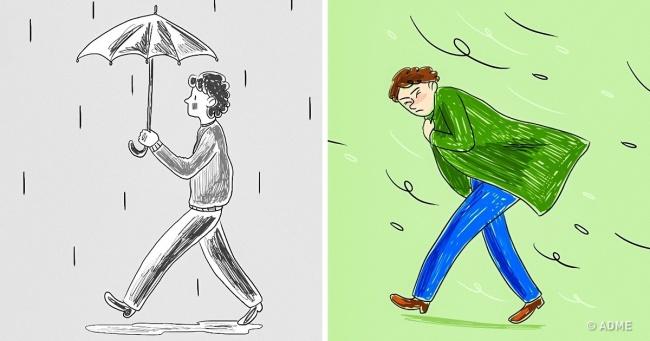 Намалюйте людини під дощем, і ми розповімо, як ви боретеся з проблемами